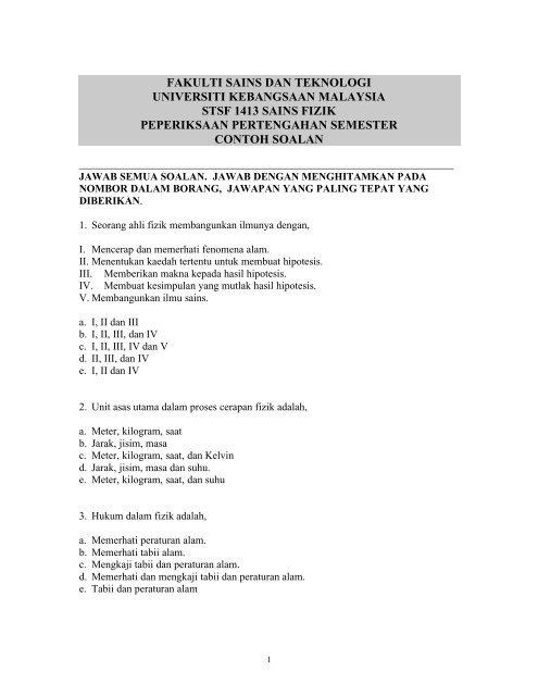 Contoh Soalan Peperiksaan Universiti Kebangsaan Malaysia