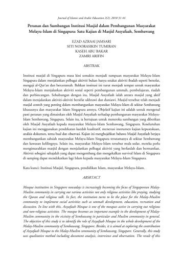 Peranan dan Sumbangan Institusi Masjid dalam Pembangunan ...