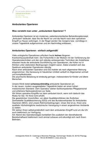 Ambulantes Operieren - Urologische Klinik Dr. Castringius ...