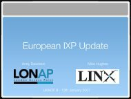 European IXP Update - UK Network Operators' Forum