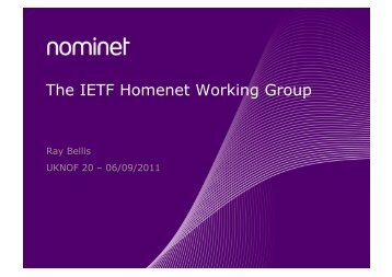 The IETF Homenet Working Group - UK Network Operators' Forum