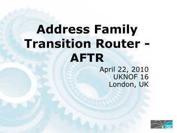 AFTR - UK Network Operators' Forum
