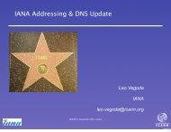 IANA Addressing and DNS Update