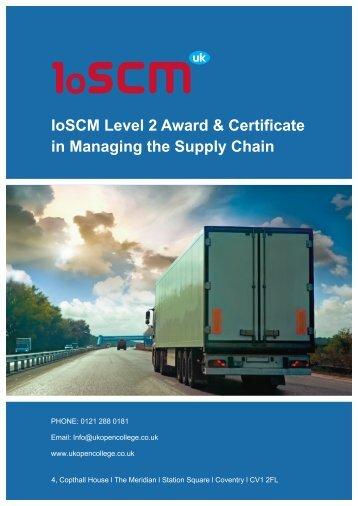 IoSCM Level 2 Award & Certificate in Managing ... - UK Open College