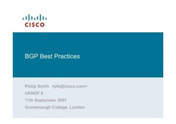 BGP Best Practices - UK Network Operators' Forum