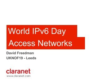 World IPv6 Day Access Networks - UK Network Operators' Forum