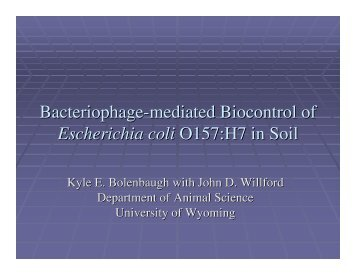 Bacteriophage-mediated Biocontrol of Escherichia coli O157:H7 in ...