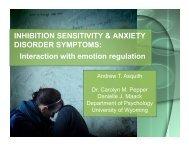 INHIBITION SENSITIVITY & ANXIETY DISORDER SYMPTOMS ...