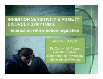 INHIBITION SENSITIVITY & ANXIETY DISORDER SYMPTOMS ...