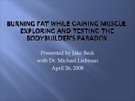 Burning Fat While Gaining Muscle: Exploring and Testing the ...