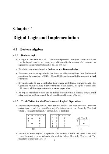 Chapter 4 Digital Logic and Implementation 4.1 Boolean Algebra