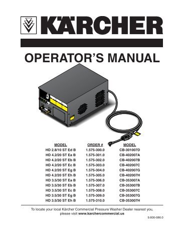 OPERATOR'S MANUAL - Shark Pressure Washers