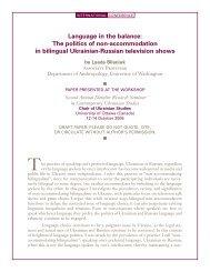 Language in the balance - Chair of Ukrainian Studies