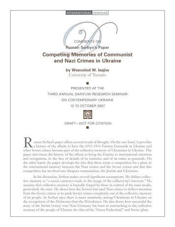 Comments - Chair of Ukrainian Studies