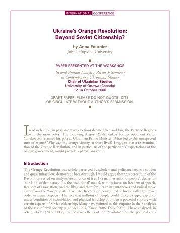 Ukraine's Orange Revolution: Beyond Soviet Citizenship? - Chair of ...