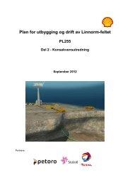 Plan for utbygging og drift av Linnorm-feltet PL255 Del 2 - Shell