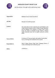 MIDDLESEX COUNTY CRICKET CLUB Job Description ... - UKSCA