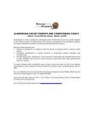 glamorgan cricket strength and conditioning coach - UKSCA