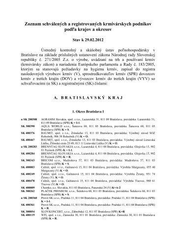 Zoznam schválených a registrovaných krmivárskych podnikov