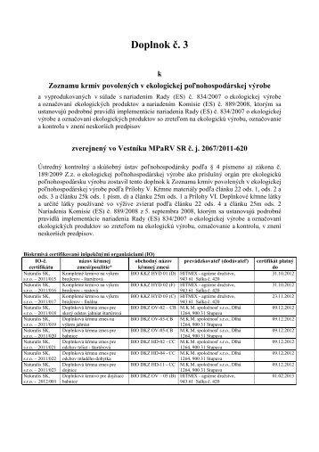 Doplnok č. 3 - Ústredný kontrolný a skúšobný ústav poľnohospodársky