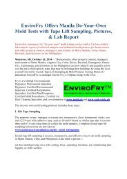 EnviroFry Offers Manila Do-Your-Own Mold Tests with Tape Lift Sampling, Pictures, & Lab Report