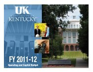 2011-2012 Operating and Capital Budget - University of Kentucky