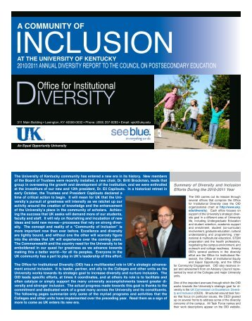 2010/2011 Annual Diversity Report - University of Kentucky