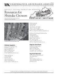FOR-89: Resources for Shiitake Growers - University of Kentucky
