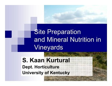 Site Preparation and Mineral Nutrition in Vineyards - University of ...