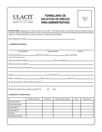 formulario de solicitud de empleo para administrativos - Ulacit