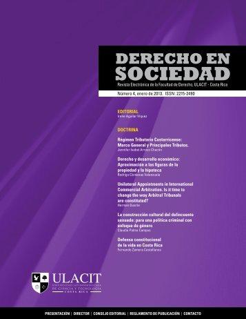 IV Edición Revista Derecho en Sociedad - Ulacit