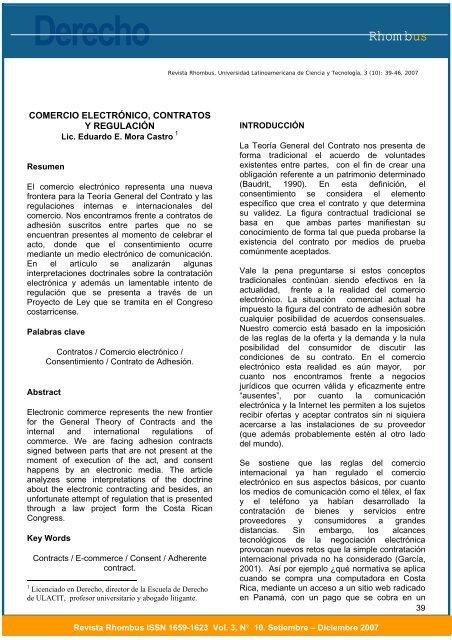 Comercio electrónico, contratos y regulación. - Ulacit