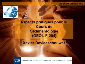 Aspects pratiques du cours de Sédimentologie