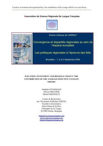 Convergence et disparités régionales au sein de l'espace européen ...