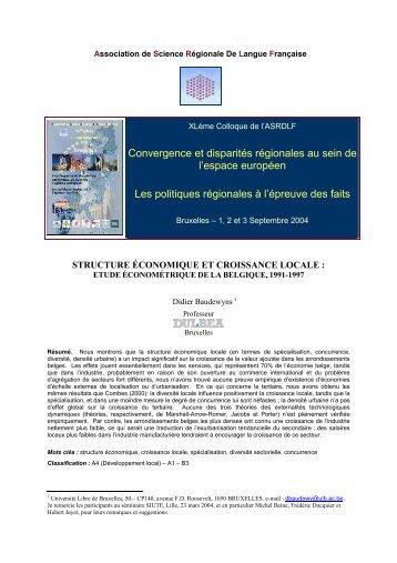 Structure économique et croissance locale - de l'Université libre de ...