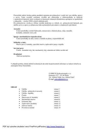 Katalog výrobků - ULBRICH HYDROAUTOMATIK sro