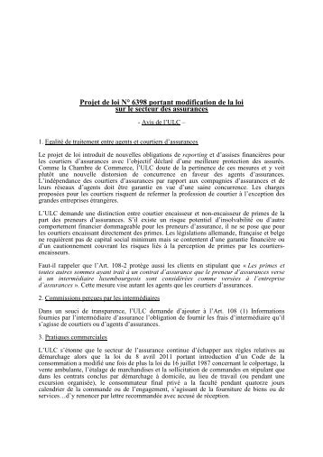 Projet de loi N° 6398 portant modification de la loi sur le secteur des ...