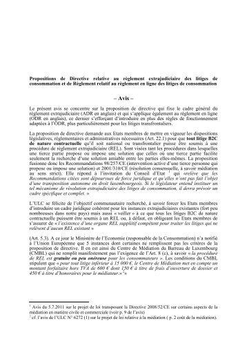 Propositions de Directive relative au règlement extrajudiciaire des ...