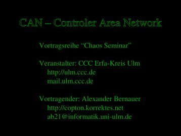 CAN – Controler Area Network - Ulm - CCC