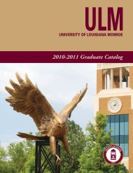 2010-2011 Graduate Catalog - University of Louisiana at Monroe