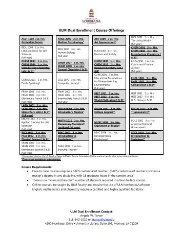 Dual Enrollment Course Offerings pdf - University of Louisiana at ...
