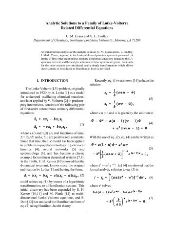 Analytic Solutions to a Family of Lotka-Volterra Related Differential ...