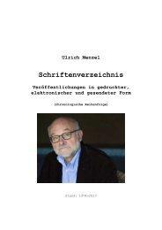 In laufender Reihenfolge - Prof. Dr. Ulrich Menzel