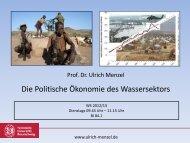 Die Politische Ökonomie des Wassersektors - Prof. Dr. Ulrich Menzel