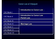 Canon Law at Vidyajyoti CIC Book I • Introduction to ... - Ulrich Rhode