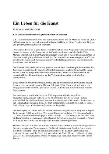 Ein Leben für die Kunst (PDF) - Ulrike Neradt