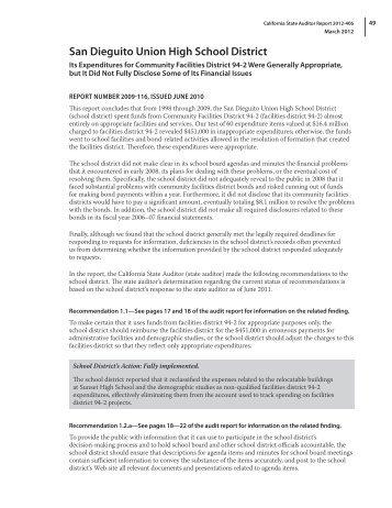San Dieguito Union High School District - Bureau of State Audits