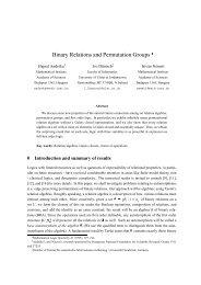 Binary Relations and Permutation Groups - CiteSeerX