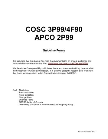 2P99/3P99/4F90 Guidelines - Computer Science - Brock University
