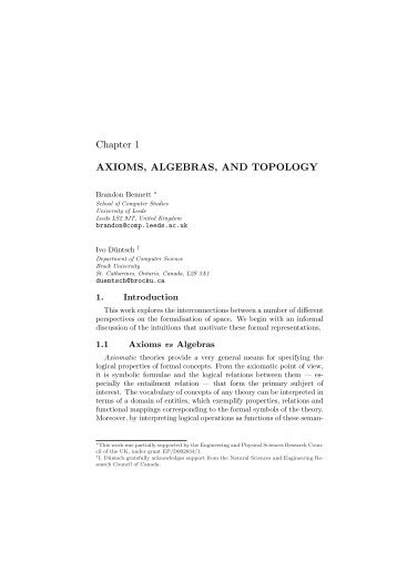 AXIOMS, ALGEBRAS, AND TOPOLOGY